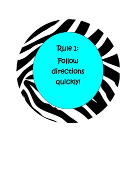 Classroom Rules Whole Brain - Zebra and Turquoise