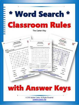 Classroom Rules Word Search Puzzles-Back to School or Reminder during the Year!