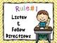 Classroom Rules Yellow Chevron Theme