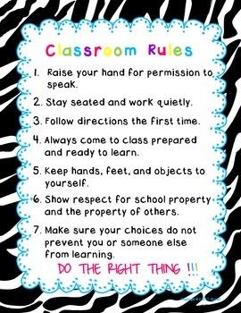 Classroom Rules Zebra Black Design