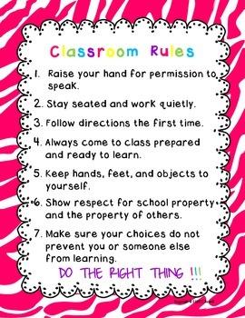 Classroom Rules Zebra Hot Pink Design
