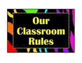 Classroom Rules-Zebra/bright colors