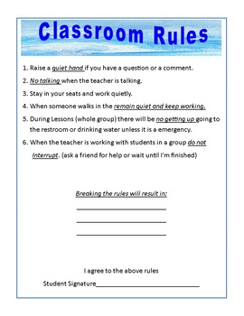 Classroom Rules and Agreement