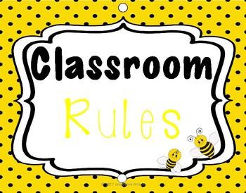Classroom Rules and Behavior Chart (bee theme) editable