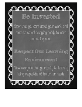 Classroom Rules and Expectations Posters in Chalkboard