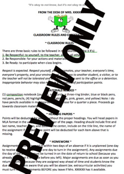 Classroom Rules and Expectations/ Syllabus