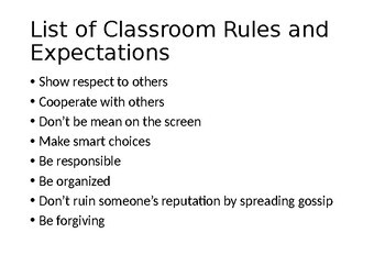Classroom Rules and Expectations for Teens