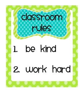 Classroom Rules and Motto Freebie
