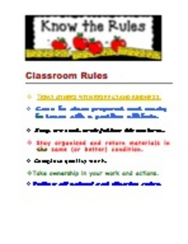 Classroom Rules and Procedure Charts - Intermediate and Middle School