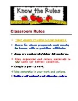 Classroom Rules and Procedure Charts - Intermediate and Mi