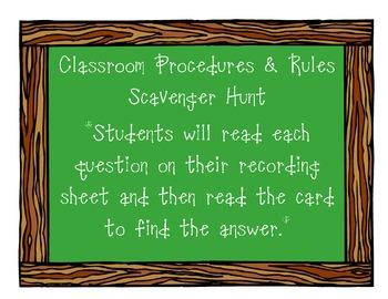 Classroom Rules and Procedure Scavenger Hunt
