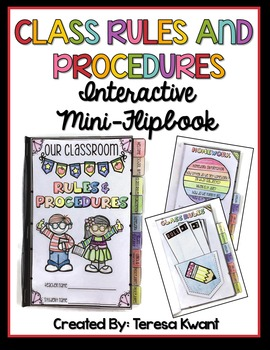 Classroom Rules and Procedures Interactive Mini Flipbook for Back to School