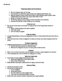 Classroom Rules and Procedures