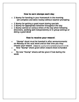 Classroom Rules and Reward System