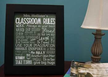 Classroom Rules - editable, green chalkboard, you personalize