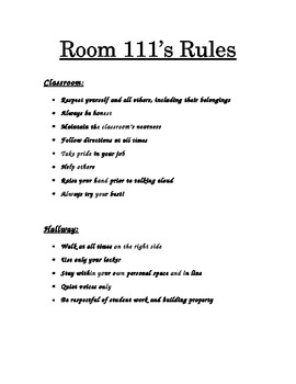 Classroom Rules (elementary & positive!)