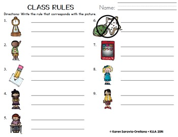 Classroom Rules for Class Posters with Melonheadz Illustrations