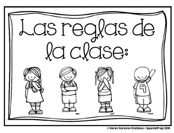 Classroom Rules for Spanish Class with Melonheadz Illustrations