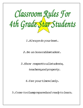Classroom Rules for Star Students