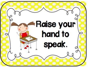 Classroom Rules for the Elementary Classroom (Polka Dot)