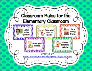 Classroom Rules for the Elementary Classroom (Polka Dots)