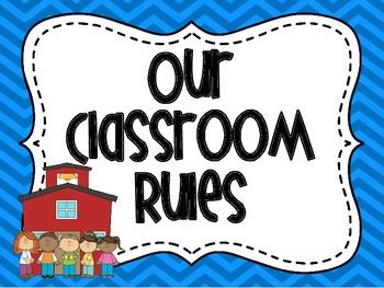 Classroom Rules in Blue Chevron