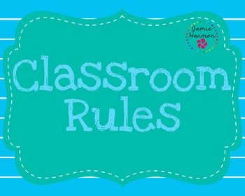 Classroom Rules in Blues and Greens