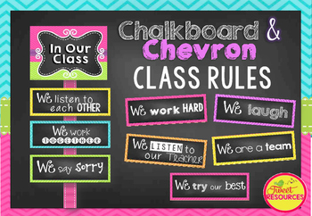 Classroom Rules in Chalkboard and Chevron (A4 paper size!)