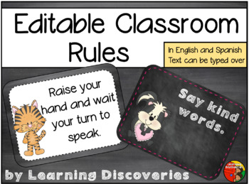 Classroom Rules in English and Spanish Chalkboard Animals Theme
