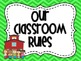 Classroom Rules in Green Chevron