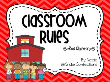 Classroom Rules in Red Chevron