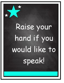 Classroom Rules on Chalkboard Background with Aqua Accent