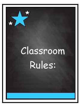 Classroom Rules on Chalkboard Background with Carolina Blue Accent
