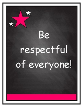 Classroom Rules on Chalkboard Background with Hot Pink Accent