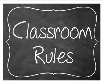 Classroom Rules on Signs
