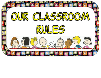 Classroom Rules signage:Peanuts Gang Ed.