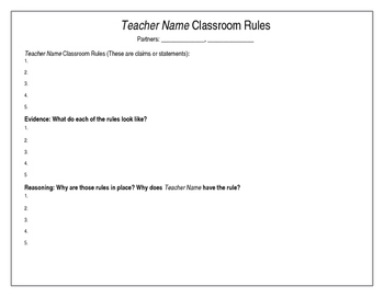 Classroom Rules with Claim, Evidence and Reasoning