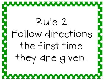 Classroom Rules with Polka Dot Border