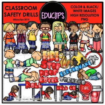 Classroom Safety Drills Clip Art Bundle {Educlips Clipart}