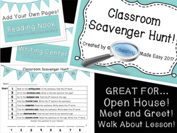 Classroom Scavenger Hunt with Station Signs {Editable}