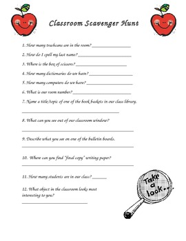 Back to School Classroom Scavenger Hunt {editable}
