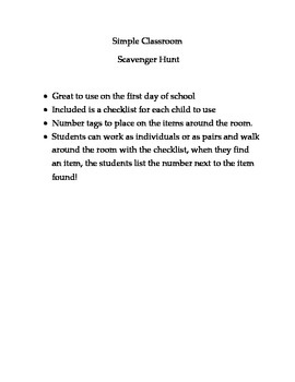 Scavenger Hunt for the Classroom