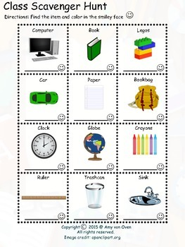 Classroom Scavenger Hunt Activity