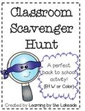Classroom Scavenger Hunt | Back to School | Open House