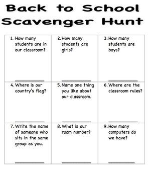 Classroom Scavenger Hunt (Meet the teacher night)