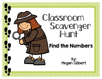 Classroom Scavenger Hunt - Numbers