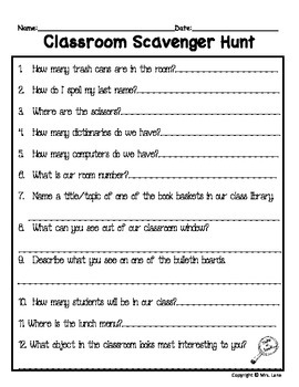 Elementary Scavenger Hunt Activities