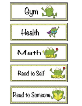 Frog Themed Classroom Schedule Cards