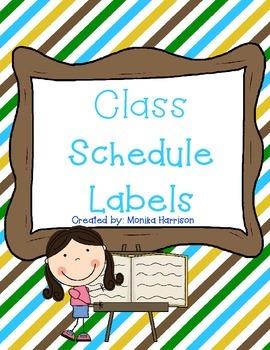 Classroom Schedule Labels