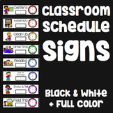 Classroom Schedule Cards - 53 Cards with Clocks and Pictures - B&W/Color